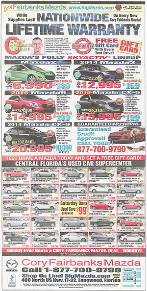 sample Cory Fairbanks Mazda advertisement