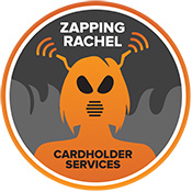 Zapping Rachel of Cardholder Services, showing a female silhouette with insect face and antennae