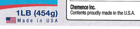 U.S. flag with text 'Made in USA'. Also says 'Chemence Inc. Contents proudly made in the U.S.A.'